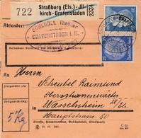 Paketkarte Affr Michel 522 + 791 Obl STRASSBURG (ELS) - ILLKIRCH - GRAFFENSTADEN Du 04.5.42 Pour Wasselnheim - Colis Postaux