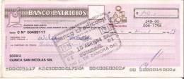 ARGENTINA CHECK CHEQUE BANCO PATRICIOS AG. VILLA LURO 1994 CULTURA - Chèques & Chèques De Voyage