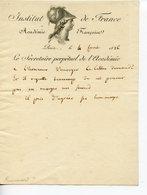 210. ACADEMIE FRANCAISE SECRETAIRE PERPETUEL FRANCOIS JUST MARIE RAYNOUARD. PETITE LETTRE NON SIGNEE 1826 - Autografi