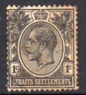 Malaya Straits Settlements GV 1921-33 1c Black, Wmk. Multiple Script CA, Used, SG 218 - Straits Settlements