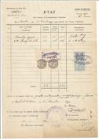 Mairie De ROMBACH Le FRANC - 1930 - Etat Des Heures D'enseignement Données - Timbre Fiscal Et De Dimension - - France