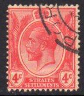 Malaya Straits Settlements GV 1921-33 4c Carmine-red, Wmk. Multiple Script CA, Used, SG 222 - Straits Settlements