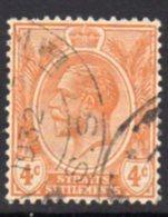 Malaya Straits Settlements GV 1921-33 4c Orange, Wmk. Multiple Script CA, Used, SG 224 - Straits Settlements