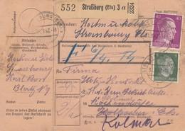 Paketkarte Affr Michel 784 + 795 Obl STRASSBURG (ELS) 3 Du 31.3.42 Pour Kolmar - Paquetes Postales