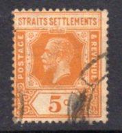 Malaya Straits Settlements GV 1921-33 5c Orange, Die II, Wmk. Multiple Script CA, Used, SG 225c - Straits Settlements