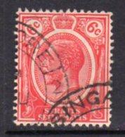 Malaya Straits Settlements GV 1921-33 6c Scarlet, Wmk. Multiple Script CA, Used, SG 229 - Straits Settlements