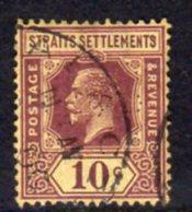 Malaya Straits Settlements GV 1921-33 10c Purple On Pale Yellow Paper, Die II, Wmk. Multiple Script CA, Used, SG 231a - Straits Settlements