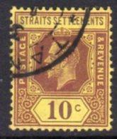 Malaya Straits Settlements GV 1921-33 10c Purple On Bright Yellow Paper, Die II, Wmk. Multiple Script CA, Used, SG 231ba - Straits Settlements