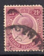 Malaya Straits Settlements GV 1921-33 21c Dull & Bright Purple, Wmk. Multiple Script CA, Used, SG 233 - Straits Settlements