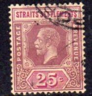 Malaya Straits Settlements GV 1921-33 25c Dull Purple & Mauve, Die I, Type I, Wmk. Multiple Script CA, Used, SG 234 - Straits Settlements