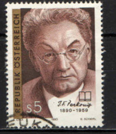 AUSTRIA - 1990 - JOSEPH FRIEDRICH PERKONIG - POETA - USATO - 1945-.... 2a Repubblica