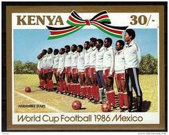 KENYA    BF 27 * *  NON DENTELE  ( Cote 9e )  Cup 1986    Football Soccer Fussball - Coppa Del Mondo