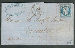 FRANCE 1858 N° 14 S/Lettre Obl. PC 2566 Le Pouzin (indice 7) - 1853-1860 Napoleon III