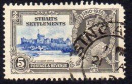 Malaya Straits Settlements GV 1935 5c Silver Jubilee Value, Wmk. Multiple Script CA, Used, SG 256 - Straits Settlements