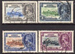 Malaya Straits Settlements GV 1935 Silver Jubilee Set Of 4, Wmk. Multiple Script CA, Used, SG 256/9 - Straits Settlements