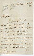 217.MINISTRE D'ANGLETERRE A NAPLES Mr TEMPLE. LAS 1844 COMMANDE VINS DE BORDEAUX LAFITTE SAUTERNE CVOGNAC LIQUEUR D'ANIS - Autographes