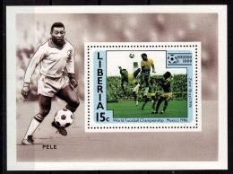 LIBERIA    EPREUVE DE LUXE  N° 1016   * *  Cup 1986   Football  Soccer Fussball Pele - 1986 – Messico