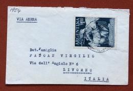CEREALI GRANO POSTA AEREA  BUSTINA (TIPO BIGLIETTO DA VISITA) DA  BUENOS AIRES A LIVORNO  ITALY - Francobolli