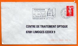 66 PERPIGNAN  DALI AU CENTRE DU MONDE   1996 Lettre Coupée N° KK 733 - Marcophilie (Lettres)