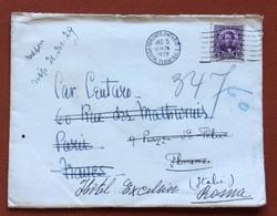 TEMATICA ALBERGHI  BUSTA DA TORONTO A FIRENZE E RISPEDITA ALL'HOTEL EXCELSIOR DI ROMA  1929 - Francobolli