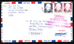 """ETATS-UNIS - N° 897/922 - COURRIER POUR LE CAMBODGE - CENSURE """"REPUBLIQUE KMERE AGRESSEE PAR L'IMPERIALISTE....""""22.06.72 - Marcophilie"""