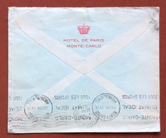 TEMATICA ALBERGHI  HOTEL DE PARIS  MONTE-CARLO  BUSTA  CON FR.1,50 ISOLATO PER ROMA  1934 - Francobolli