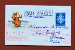 TEMATICA NATALE BIGLIETTO POSTALE 55 B. CON ANNULLO PUBBLICITARIO ROSSO A TARGHETTA DA BUCAREST A ROMA ITALY - Francobolli