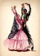 [DC7839] CPA - CARTOLINA ILLUSTRATA - BALLERINI FLAMENCO DANZA - FIRMATA - Non Viaggiata - Old Postcard - Danza