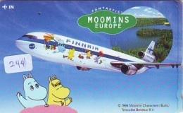 Télécarte  JAPON * FINNAIR * MOOMINS (2441)  AVIATION * AIRLINE Phonecard  JAPAN AIRPLANE * FLUGZEUG - Avions