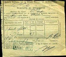 124 STRADE FERRATE  DEL MEDITERRANEO 1897 RICEVUTA DI SPEDIZIONE DA ROMA A ORIOLO - Biglietti Di Trasporto