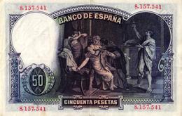 EL BANCO DE ESPANA - CINCUENTA PESETAS  -1931 - 50 Pesetas