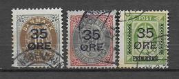 DANEMARK - 1912 - YVERT N° 62/64 OBLITERES - COTE = 200 EUR. - Used Stamps