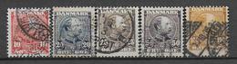 DANEMARK - 1904 - YVERT N° 43/47 OBLITERES - COTE = 125 EUR. - 1864-04 (Christian IX)