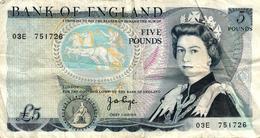 ROYAUME UNI - 5 POUNDS ELIZABETH II - 1952-… : Elizabeth II