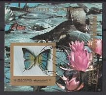 Manama 1972 Bf. 221B Farfalle Butterfly Papillons Mariposas : Fiori - Ninfee Sheet Imperf. CTO - Manama