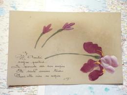 L'Amitié / Carte Celluloïd Peinte à La Main - Cartes Postales