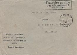 Ponts Et Chaussée Neuf-Brisach 1946 - Franchise Postale Par Abonnement - Alsace-Lorraine