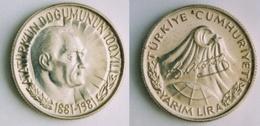 AC - BIRTH CENTENARY OF MUSTAFA KEMAL ATATURK 1/2 LIRA COMMEMORATIVE SILVER COIN TURKEY 1981 - Turkey