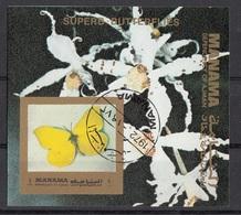 Manama 1972 Farfalle Butterfly Papillons Mariposas : Fiori - Orchidee Orchids Sheet Imperf. CTO - Manama