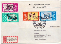 Postal History Cover: Germany Olympic Games Set And SS On Registered Cover - Summer 1976: Montreal