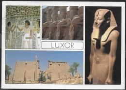 EGITTO - LUXOR  - FORMATO GRANDE 17X12 - VIAGGIATA  FRANCOBOLLO ASPORTATO - Luxor
