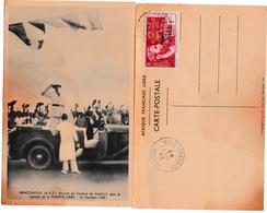 Bangui 1942 - AEF Libre Avec Surcharge - Sur Carte Tâchée Général De Gaulle - Scan Recto-verso - Poststempel (Briefe)