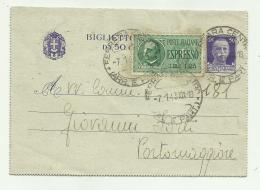 BIGLIETTO POSTALE DA 50 + ESPRESSO LIRE 1,35 CENTESIMI 1943 - 4. 1944-45 Repubblica Sociale