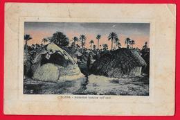 COLONIE ITALIANE LIBIA ZUARA - ABITAZIONI BEDUINE NELL'OASI - 1925 - Libia
