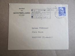 Enveloppe Avec Entête - Mairie De Montbélliard - Marcophilie (Lettres)