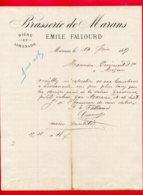 FACTURE (D060) BRASSERIE DE MARANS BIÈRE ET LIMONADE EMILE FALLOURD MARANS - 1800 – 1899