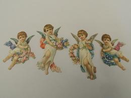 4 Découpis Chromos Anges Et Guirlandes De  Fleurs Putti  XIXeme 1B2 - Enfants