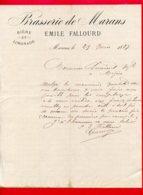 FACTURE (D090) BRASSERIE DE MARANS BIÈRE ET LIMONADE EMILE FALLOURD MARANS - 1800 – 1899