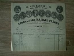 FACTURE LEON ET JULES RAINAL FRERES ORTHOPEDISTES PARIS 1895 - France