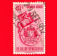 VENEZUELA - Usato - 1951 - Stemma E Statua Di Simon Bolivar - Arms - 10 - P. Aerea - Venezuela